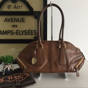 Vintage Tod's Brown Leather Baguette Bag